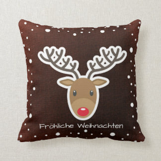 Reindeer And Snow On Red Fröhliche Weihnachten Cushion