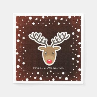 Reindeer And Snow On Red Fröhliche Weihnachten Paper Napkin