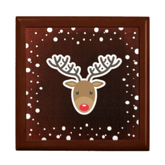 Reindeer And Snow On Red Gift Box