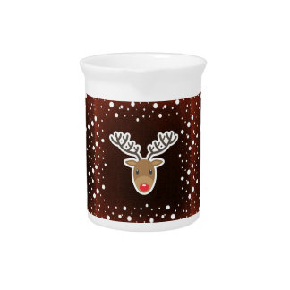 Reindeer And Snow On Red Pitcher