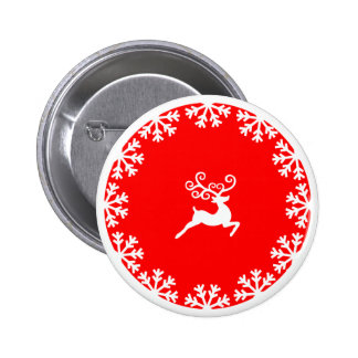 Reindeer and Snowflakes 6 Cm Round Badge