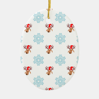 Reindeer and Snowflakes Ceramic Oval Decoration