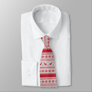 Reindeer and Snowflakes Fair Isle Design Necktie