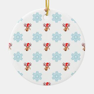 Reindeer and Snowflakes Round Ceramic Decoration