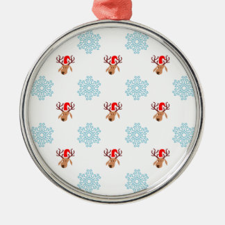 Reindeer and Snowflakes Silver-Colored Round Decoration