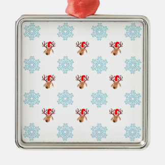 Reindeer and Snowflakes Silver-Colored Square Decoration