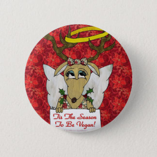 Reindeer Angel Tis The Season to Be Vegan 6 Cm Round Badge