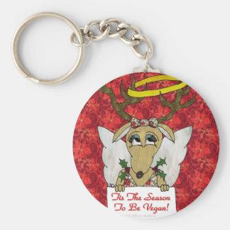 Reindeer Angel Tis The Season to Be Vegan Basic Round Button Key Ring