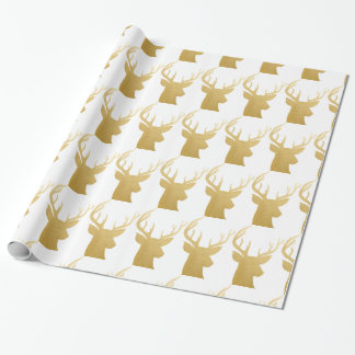 Reindeer | Antler Christmas Faux Gold Foil Pattern Wrapping Paper