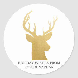 Reindeer | Antler | Faux Gold Foil | Holiday Classic Round Sticker
