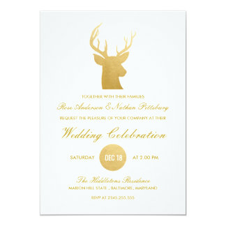 Reindeer Antler Faux Gold Foil | Winter Wedding Card