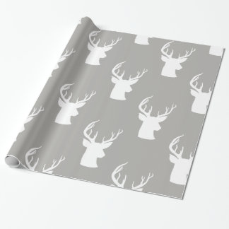 Reindeer | Antler | Stag Christmas Grey Pattern Wrapping Paper