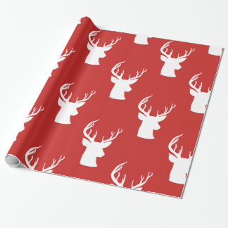 Reindeer | Antler | Stag Christmas Red Pattern Wrapping Paper