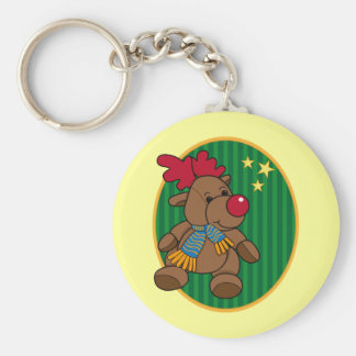 Reindeer Basic Round Button Key Ring