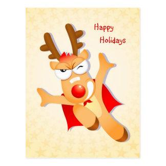 Reindeer batman happy holidays Postcard