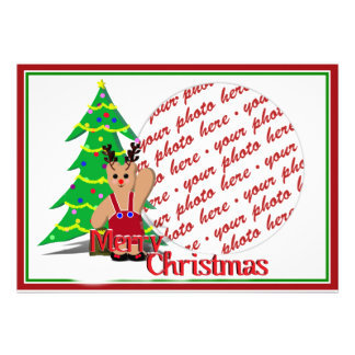 Reindeer Bear  Photo Frame Personalized Invite