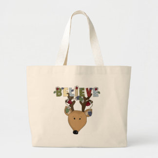 Reindeer Believe Holiday Tshirts and Gifts Large Tote Bag