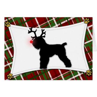 Reindeer Black Russian Terrier Christmas Card