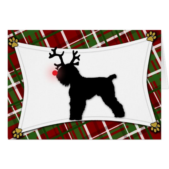 Reindeer Black Russian Terrier Christmas Card