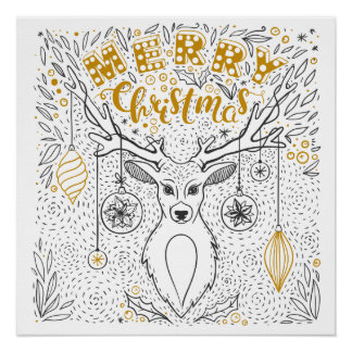 Reindeer Black White and Gold Hand Drawn Christmas Poster