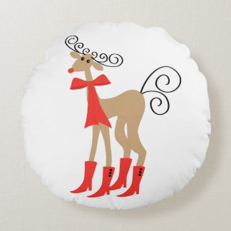 Reindeer Boots Holiday Christmas Round Cushion
