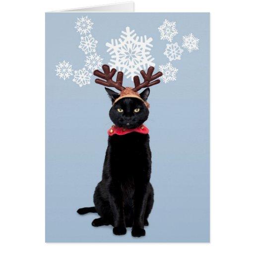 Reindeer Cat Brings Joy Card