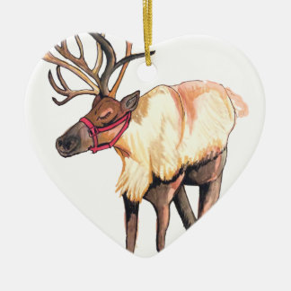Reindeer Ceramic Heart Decoration
