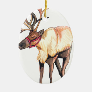 Reindeer Ceramic Oval Decoration