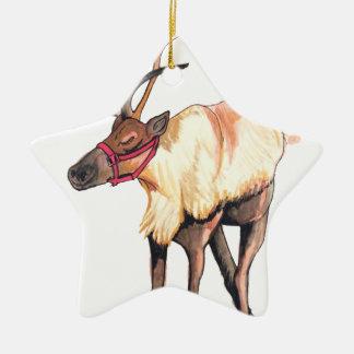 Reindeer Ceramic Star Decoration