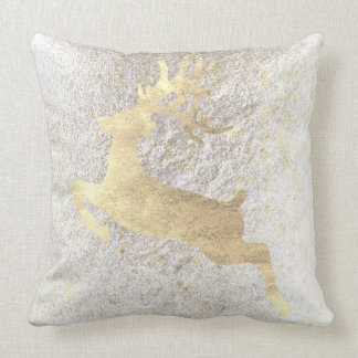 Reindeer Champaign Gold Pearly White Cottage Cushion
