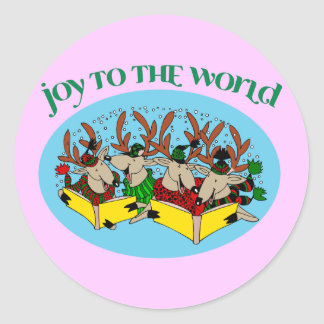 Reindeer Choir - Joy to the World Classic Round Sticker