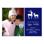 Reindeer Christmas Card (Happy Holidays Navy Blue) Personalised Invites