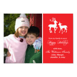 Reindeer Christmas Card (Happy Holidays Red) Personalized Announcement