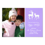 Reindeer Christmas Card (Happy Holidays Violet) Personalized Announcements