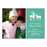 Reindeer Christmas Card Merry Christmas (Teal) Personalised Invites