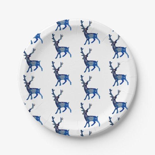 Reindeer Christmas Custom Paper Plates 7 in