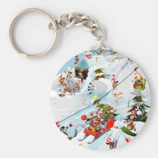 Reindeer Christmas Fun Basic Round Button Key Ring