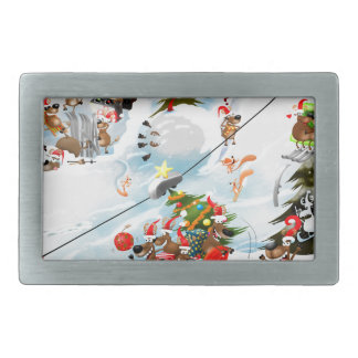 Reindeer Christmas Fun Rectangular Belt Buckles