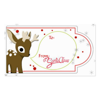 Reindeer Christmas Gift Tag Double-Sided Standard Business Cards (Pack Of 100)