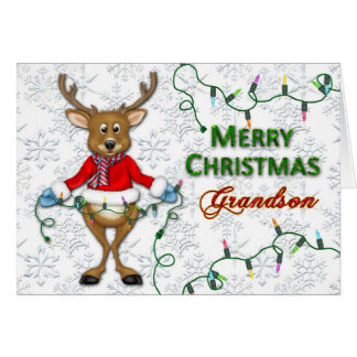 Reindeer Christmas- Grandson - Lights Card