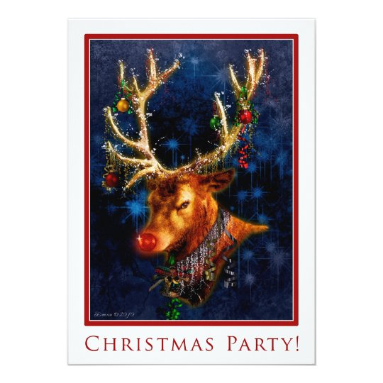 Reindeer Christmas Party Custom Invitation Temp