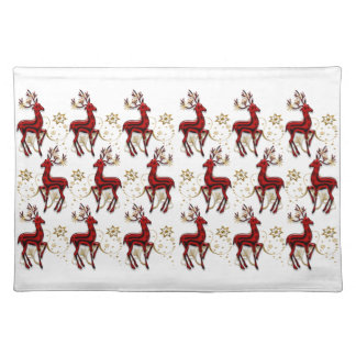 Reindeer Christmas red gold Placemat