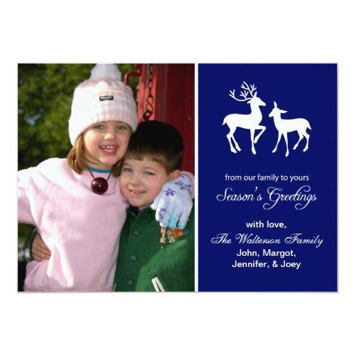 Reindeer Christmas (Season's Greetings Navy Blue) 13 Cm X 18 Cm Invitation Card