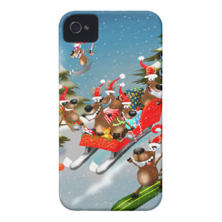 Reindeer Christmas sleigh ride Case-Mate iPhone 4 Case