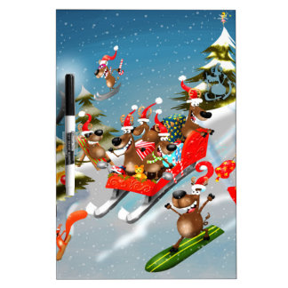 Reindeer Christmas sleigh ride Dry-Erase Whiteboards
