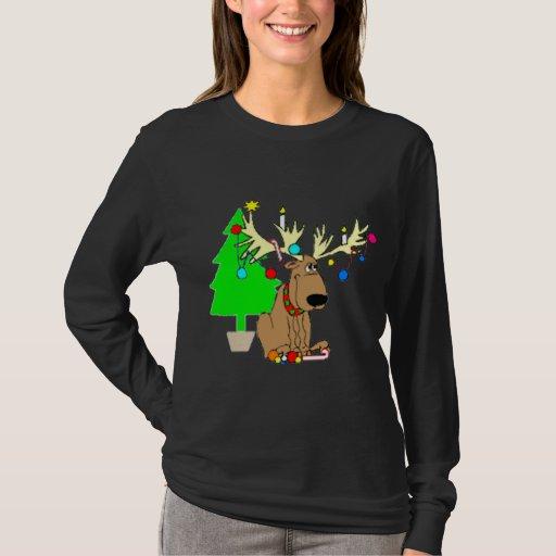 Reindeer Christmas T Shirt Holiday Gift