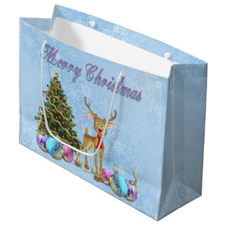 Reindeer Christmas Tree Christmas Bulbs Large Gift Bag