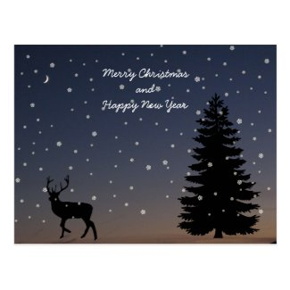 Reindeer, Christmas tree - dark blue winter night