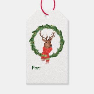 Reindeer Christmas Wreath Gift Tags
