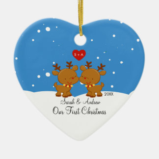 Reindeer Couple Our First Christmas Ornament
